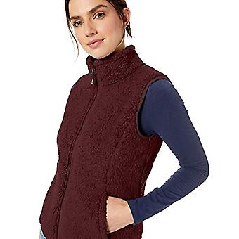 Essentials Women's Polar Fleece Lined Sherpa Vest, Bourgondië, Large