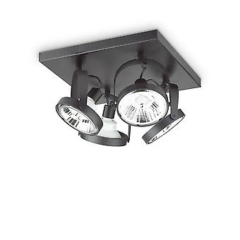 Ideale Lux GLIM - Indoor 4 Lights Ceiling Spotlight Lamp Zwart, GU10