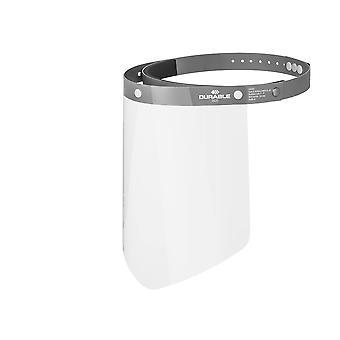 Durable Visier für Gesichtsschutz vor Spritzern und Tröpfchen, CE-konform, mit anpassbarem Stirnband, hochklappbar & desinfizierbar,