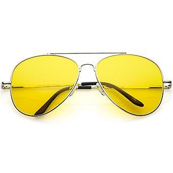 Suuri Classic Pimeänajo lentäjä Sunglasse keltainen sävytetty linssi 61mm