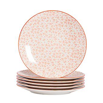 Nicola Spring 6 Piece Daisy Patterned Dinner Plate Set - Large Porcelain Dining Plates - Coral - 26.5cm