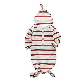 Newborn Baby Girls Striped Sleeping Swaddle Bag- Blanket With Hat