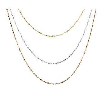 Dew Set Rose Gold Plated Layered Box Station Triple Toggle 9 Bracelet CB07GRG9