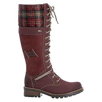 Rieker Red Knee Length Lace Up Boot z wełnianym mankietem tartanowym