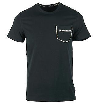 Aquascutum Check Trim Pocket Black T-Shirt