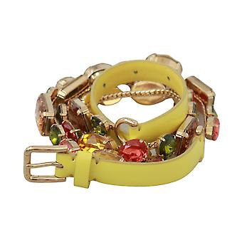 Dolce & Gabbana Yellow Gold Multicolor Crystals Waist Belt