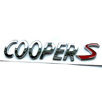 Silver/Red Mini Cooper S Rear Boot Badge Emblem 150mm x 50mm