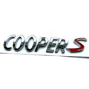 Silver/Red Mini Cooper S Rear Boot Badge Emblem 150mm x 50mm