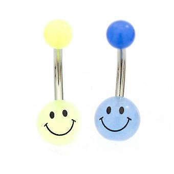 Belly button ring pack of two smiley faces glow in the dark 14g