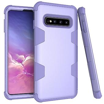 Contrast Color Silicone + PC Shockproof Case for Galaxy S10+ (Purple)