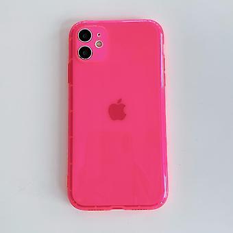 iphone ソフトクリアバックカバー用ネオン蛍光ソリッドカラー電話ケース