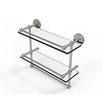 16 pulgadas galería doble estante de vidrio con barra de toalla - P1000-2Tb/16-Gal-Sn