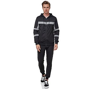 Mens Tracksuit Basic Casual Jogging Pants Fitness Stripes Suit Sweater Hoodie