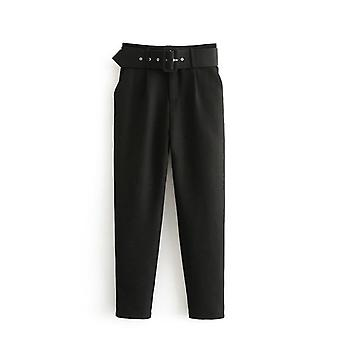 Woman High Waist Sashes Pockets Office Ladies Suit Pants
