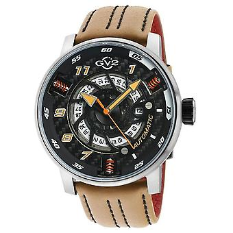 GV2 Motorcycle Mens Black Dial Beige Calfskin Leather Watch