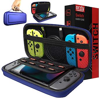 Orzly carry case compatible with nintendo switch - midnight blue protective hard portable travel car