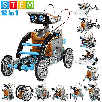 Sillbird stem 12-in-1 education solar robot toys-190 pieces diy building science experiment kit for