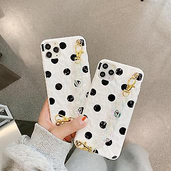 iPhone 12 & 12 Pro Shell spotted black white with ankle strap
