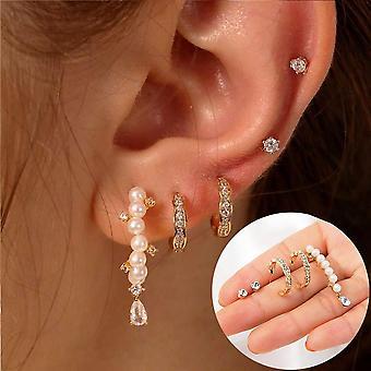 Gold Crystal Pearl Earrings Set Fashion