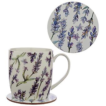 Porcelain mug and coaster gift set - lavender fields