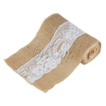 Handmade Jute Burlap Chair Sash Bow With Lace For Baby Shower Party Bridal