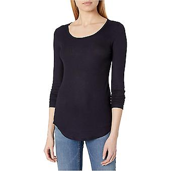 Marca - Daily Ritual Women's Ribbed Long-Sleeve Scoop Neck Shirt, Navy, XX-Large