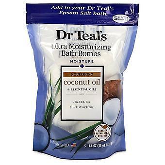 Dr Teal's Ultra Moisturizing Bath Bombs Five (5) 1.6 oz Moisture Rejuvinating Bath Bombs with Coconut oil, Essential Oils, Jojoba Oil, Sunfower Oil (Unisex) By Dr Teal's 1.6 oz Five