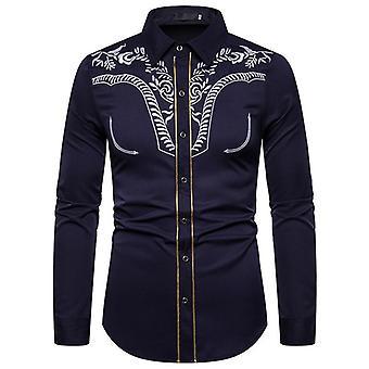 Mens Western Cowboy Shirt, Bloemen Geborduurd, Golden Edging Stijlvol, Slim Fit,