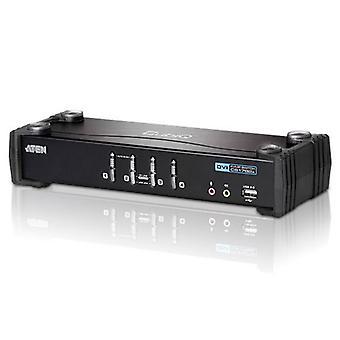 Aten 4-porttinen USB DVI KVMP -kytkin USB 2.0 -keskittimellä ja äänellä