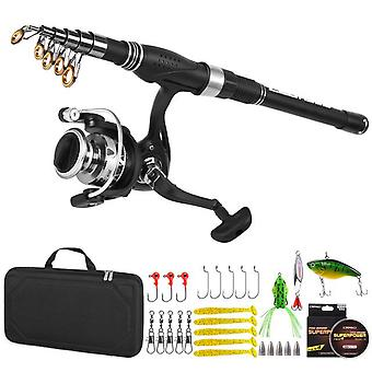 Fishing rod and reel combo carbon fiber telescopic fishing rod with reel combo set lures jig hooks fishing carrier bag