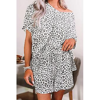 White Leopard Print Short Pajamas Set