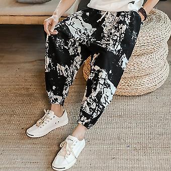 Men Autumn/summer New Men's Chinese Style National Cotton Hemp Trousers