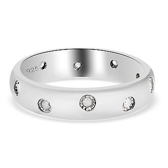 TJC weiß Diamant Ehering für Frauen Platin vergoldet Silber