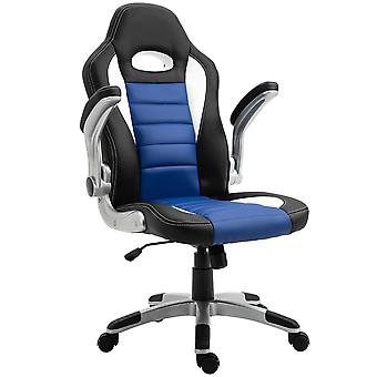 HOMCOM Racing Office Chair PU Leather Computer Desk Chair Gaming Style with Wheels, Flip-Up Armrest, Blue
