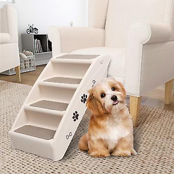 vidaXL الكلب الدرج كريم قابل للطي 62x40x49,5 سم