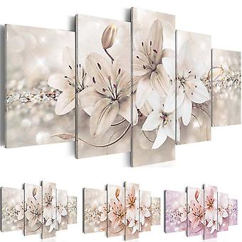 5 Panels Love Flowers Canvas Wall Core Painting With Frame
