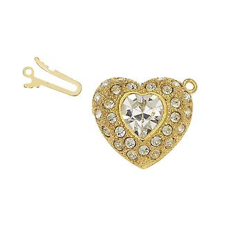 Elegant Elements, 1-Strand Heart Shaped Box Clasp with Swarovski Crystals 22mm, 1 Clasp, Gold Plated