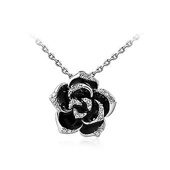 Women's necklace in the shape of flower flower necklace flowers gold-plated pendant with black zircons, metal alloy, color: Ref. 4058433042186