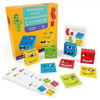 Dzieci Drewniana twarz Bloki Montessori Zabawki Logiczne myślenie Rodzic dziecko Interaktywna zabawka| Bloki