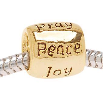 22K Gold Plated Message Bead Love Faith Pray Peace Joy Hope - European Style Large Hole (1)