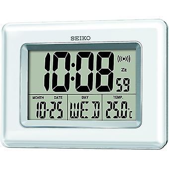 Seiko QHL058W Digital LCD Clock White