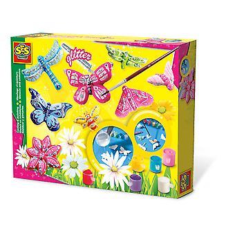 SES Creative - Kindervlinder Glitter Gieten en Schilderen Set 3-12 Jaar (Multi-colour)