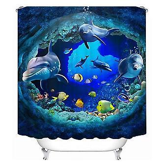 3d Ocean Design Delfiini Vedenpitävä Kangas Kylpyhuone Verho