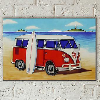 Rød Split Campervan 8 x 12 Fliser