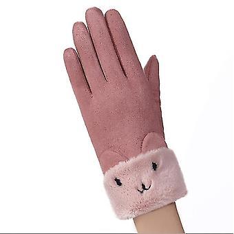 Kaksikerroksinen mokkanahka Paksut lämpimät käsineet Talvihanskat Naiset Talvi (Pinkki)