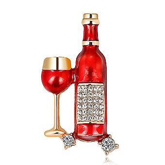 Corsage Bottle Cup Girl Brooch Rhinestone Inlaid Pearl Brooch Pin