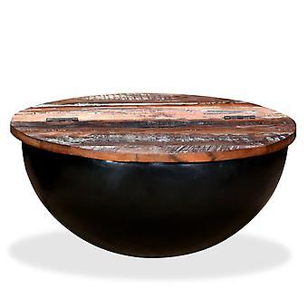 vidaXL soffbord återvunnet trä fast svart skål form