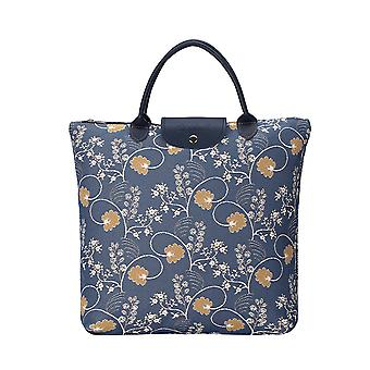 جين أوستن الأزرق أضعاف أكياس التسوق | حقيبة زرقاء قابلة للطي نسيج | fdaw-أوست