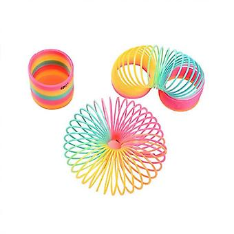 Spring Slinky Toy,rainbow Plastic Coil Toy, 3 Inch Wide X 6 Inch Tall