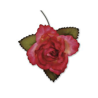 SISTE FÅ - 12 røde 45mm papir roseblomster
